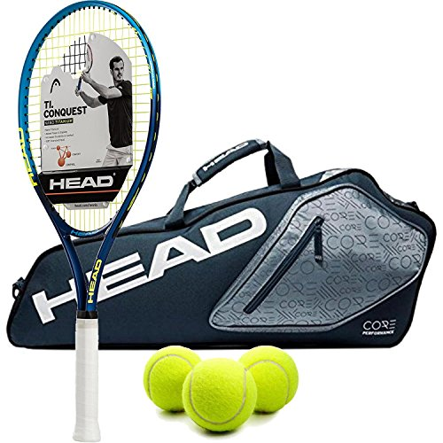 HEAD Ti.Conquest Pre-Strung Tennis Racquet (Grip Size 4 1/2) bundled with a Core 3 Racquet Pro Tennis Bag and a Can of Tennis Balls