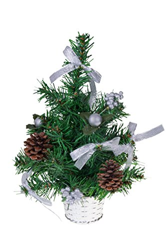 Mini Tabletop Christmas Tree by Clever Creations | Decorated with Balls, Berries and Bows in a Basket | Festive Holiday Décor | Classic Theme | Lightweight | Shatter Resistant | 12