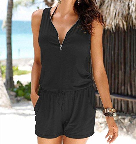 Mangas del mono de los pantalones del mono hibote atractivo de las mujeres de la manera Ocasionales de la Playa del Verano Cremallera Jumpsuit S-XXL Negro