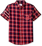 FOCO KLEW MLB Boston Red Sox Wordmark Flannel Short Sleeve Button-Up Shirt