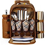 APOLLO WALKER 4 Person Picnic Backpack With Cooler Compartment, Coffee