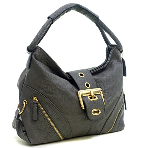 DASEIN Womens Shoulder Bag Buckled Flap Handbag for Woman Top Handle Purse Designer Fashion Hobo Bag (Grey-1)