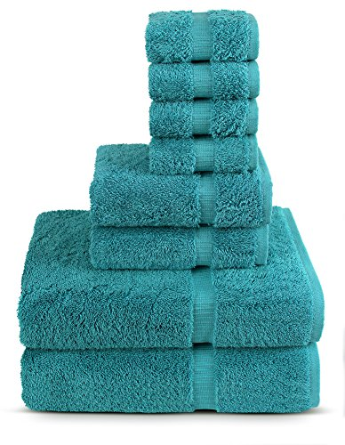TURKUOISE TURKISH TOWEL 8 Piece Turkish Luxury Turkish Cotton Towel Set – Eco Friendly, 2 Bath Towels, 2 Hand Towels, 4 Wash Clothes by (Turquoise)
