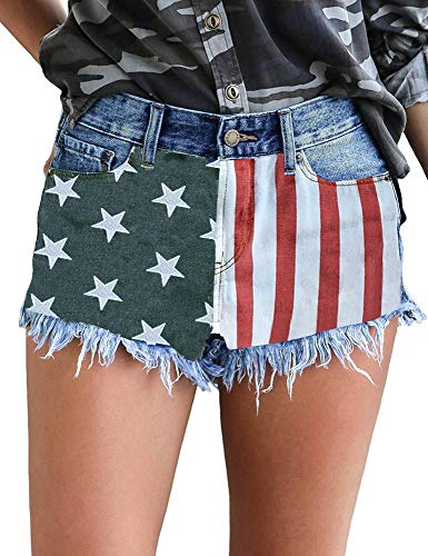 - Luyeess Women's Mid Rise Frayed Jean Shorts Distressed Raw Hem Ripped Destroyed July 4th Denim Shorts Hot Pants US Flag Printed, Size M(US 8-10)