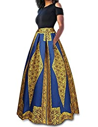 Women's Sexy Two-Piece Floral Print Pockets Long Party Skirts Dress S-2XL