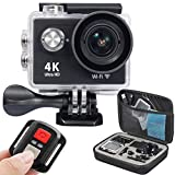 OnLyee 4K WIFI Sports Action Camera Ultra HD Waterproof DV Camcorder 12MP 170 Degree Wide Angle 2 inch LCD Screen/2.4G Remote Control/ Rechargeable Batteries (Black)
