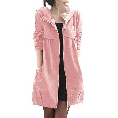 BCDshop Women Windbreaker Long Sleeve Zip Pocket Hoodies Thin Coat Casual Jacket Slim Fit(Pink