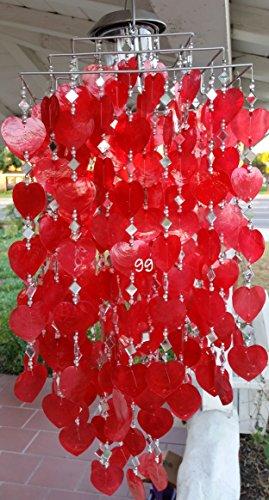(SOLAR CAPIZ SHELL WINDCHIMES/CHANDELIER RED HEART CAPIZ CHIMES WITH SOLAR LIGHT-sq)