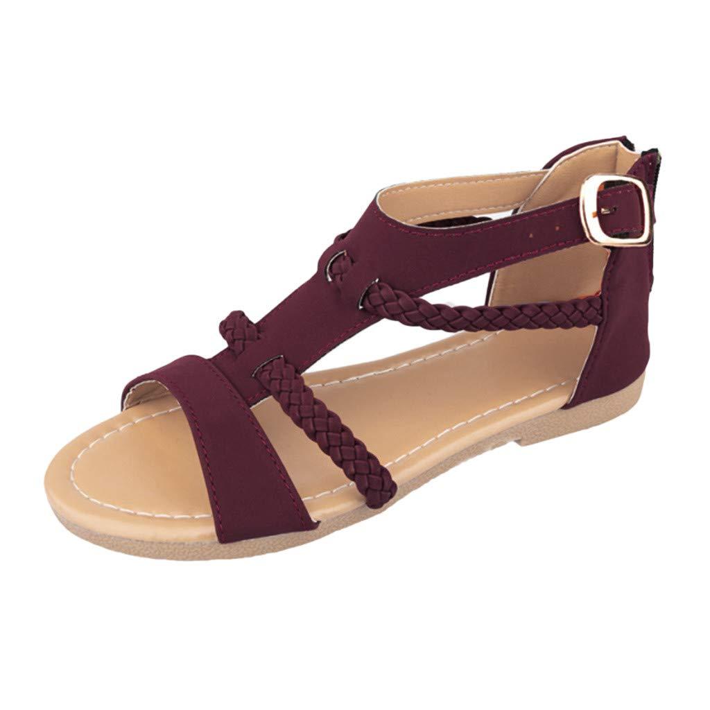 SSYongxia❤ Girls Women's T-Strap Sandal Fashion Ankle Strap Buckle Low Platform Heel Comfortable Sandals Shoes Purple