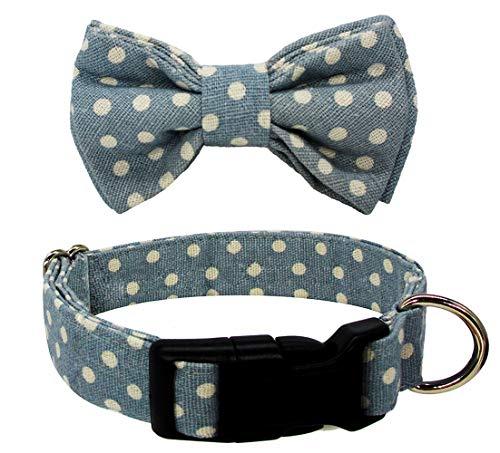 - Kebs Dog Bow Tie Collar Soft & Comfy Classic Polka Dots Bowtie Adjustable Neck Tie for Medium Dog Light Blue