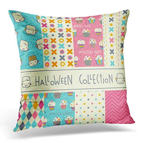 Emvency Throw Pillow Cover Hipster Kid of Eight Halloween Patterns Funny Cute Party Decorative Pillow Case Home Decor Square 18