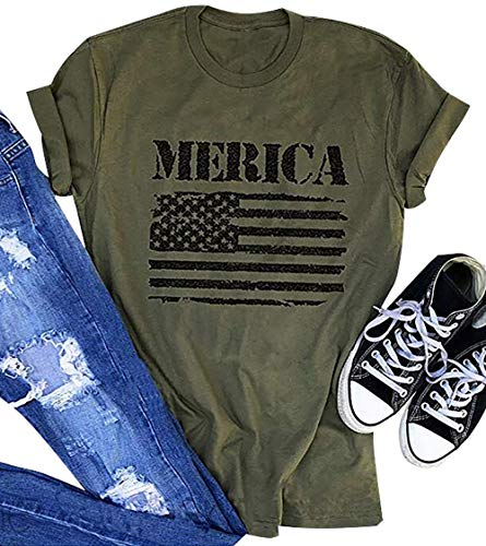 Merica Flag Print T Shirt for Womens Army Green Top Tee for Independence Day Female Patriots Shirts Size XL (Army Green) Adult Army Green T-shirt