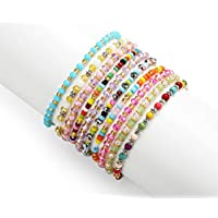 PinkSheep Girl Teens Bracelet, Tiny Crystal Glass Beads, Kids Dainty Bracelet, 10 PC, Value Set