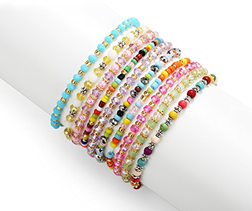 PinkSheep Girl Teens Bracelet, Tiny Crystal Glass Beads, Kids Dainty Bracelet, 10 PC, Value Set (Bracelets Girls Teen)