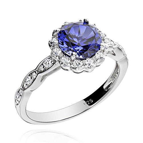 (2 Ct Blue Sapphire Flower Design Cubic Zirconia Halo Rings Gemstone Jewelry for Wedding Women Sz5)