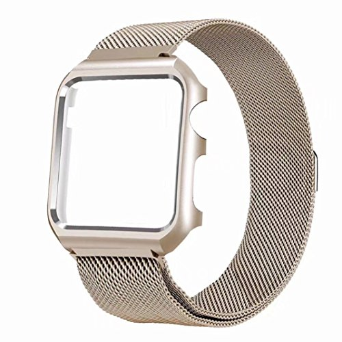 Price comparison product image Apple Watch Band with Case 42mm,  Boofab Stainless Steel Mesh Milanese Loop with Adjustable Magnetic Closure Replacement Wristband iWatch Band for Apple Watch Series 3 / 2 / 1 42mm (Gold)