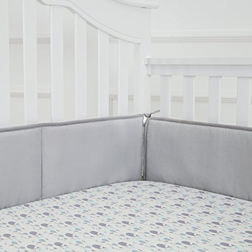 TILLYOU Baby Breathable Crib Bumper Pads for Standard Cribs Machine Washable Padded Crib Liner 100% Silky Soft Microfiber Polyester,4 Piece/Gray