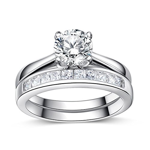 Sreema London 925 Sterling Silver AAAAA Cubic Zirconia Accent Love Forever Wedding Rings 5 3/4 ()