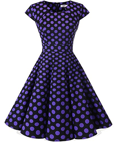 Party Cocktail Long Retro Swing Black Dot Homrain Vintage Purple Dress A 1950s Line Big Sleeves Women's BaxvqTw8