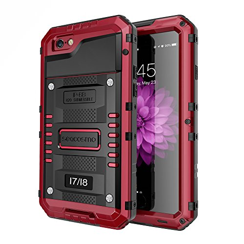 iPhone 7 Waterproof Case, Seacosmo Full Body Protective Shell with Built-in Screen Protector Military Grade Rugged Heavy Duty Case Cover for iPhone 8 / iPhone 7, Red