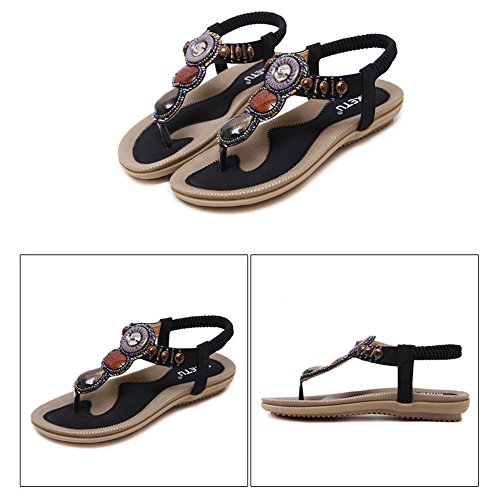 Eagsouni® Damen Sommer Bohemia Sandalen Flach Clip Toe Flip Flops Strand Schuhe Zehentrenner Schwarz