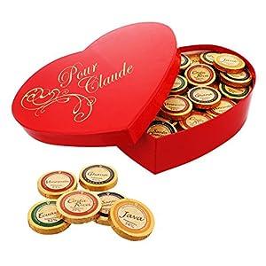 Délice Choco-Coeur personnalisé avec 480g de chocolats du monde entier dans un coffret en forme de coeur à offrir en…
