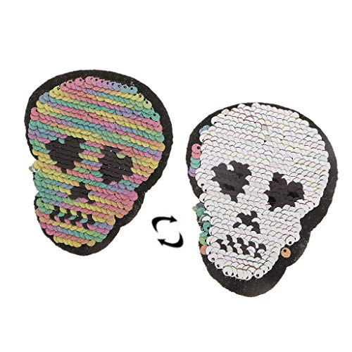 Skull Head Reversible Sequins Sew On Patches for Clothes Bags Hats DIY Patch