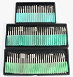 80Pc Professional Diamond Rotary Burr Burrs Drills Bits Carving Grinding 1/8'' Shanks 40 120 240 Grits for Working with Ceramics, Stone, Glass, Tile, Wood, Plastic , Fiberglass ** GREAT GIFT IDEA **