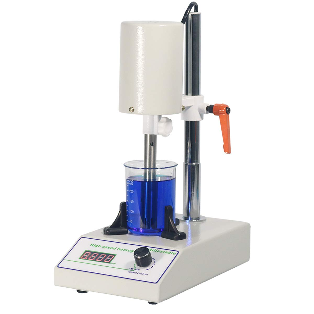 MXBAOHENG High Speed Homogenizer Lab Disperser Emulsifier 5~1000ml Speed Adjustable 6000~22000rpm w/ 2 Working Heads (110V)