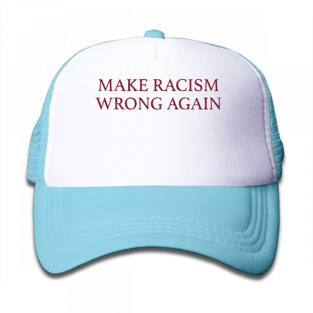NO4LRM Kid's Boys Girls Make Racism Wrong Again Youth Mesh Baseball Cap Summer Adjustable Trucker Hat
