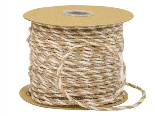 Pack Of 1, Solid White & Natural Duo Color Jute Twine 3-ply 1/8