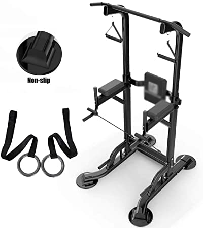 Jaulas de Fuerza Home Gym Pull Up Power Tower, Estación De Pull Up and Dip, Equipo De Ejercicios Multifunción, Estación De Bar Chin Up, Carga 250KG (Color : Black, Size : B):