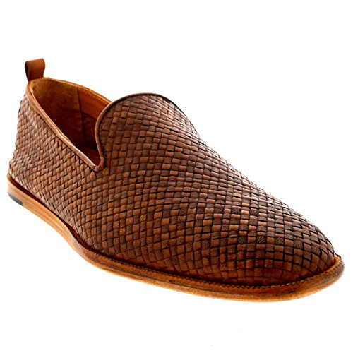 Mens H By Hudson Ipanema Leather Smart Weave Summer Tan Casual Shoes - Tan - 9 by H by Hudson