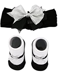 Baby Girls black and Silver Headband and Sock Set