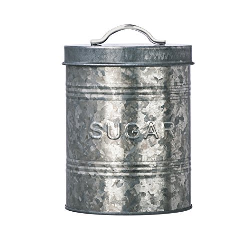 Amici Home, A7CJ008R, Rustic Kitchen Collection Sugar Galvanized Metal Storage Canister, Food Safe, Push Top Lid, 76 Ounces - Push Top Lid