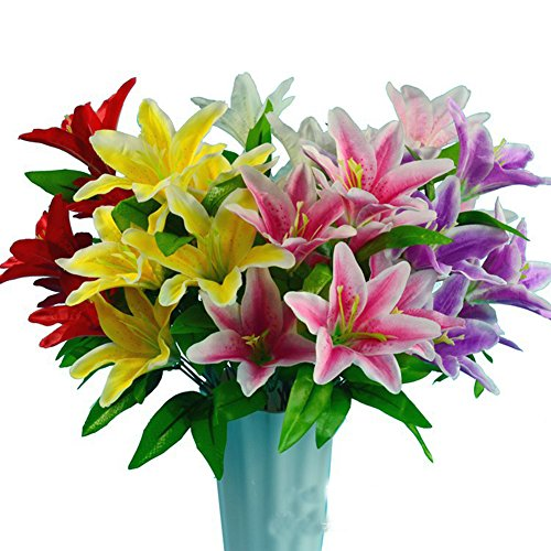 Lopkey Artificial lily bouquet Stargazer Lily Bunch,4 Bunches