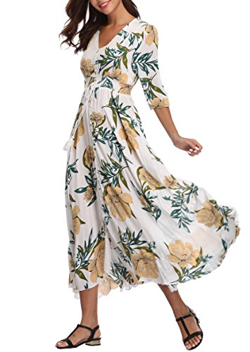 (VintageClothing Women's Half Sleeve Floral Print Maxi Dresses Boho Button Up Split Beach Party Dress)