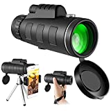 Monocular Telescope 12x50 for Smartphone, Telescopes for Kids and Beginner, Join Waterproof Smartphone Stand Compass and Metal Tripod