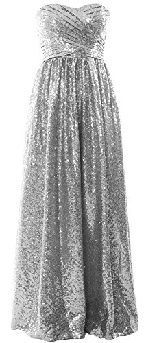 Long MACloth Formal Party Sequin Dress Bridesmaid Silber Gown Evening Women Strapless qUUat