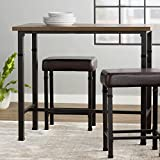 3 Piece Pub Table Set Including One Table and 2 Stools Made of Upholstery Wood and Metal In Brown Color Save Space and Upgrade Your Kitchen