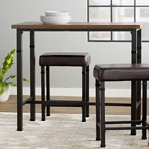 3 Piece Pub Table Set Including One Table and 2 Stools Made of Upholstery Wood and Metal In Brown Color Save Space and Upgrade Your Kitchen by eCom Fortune
