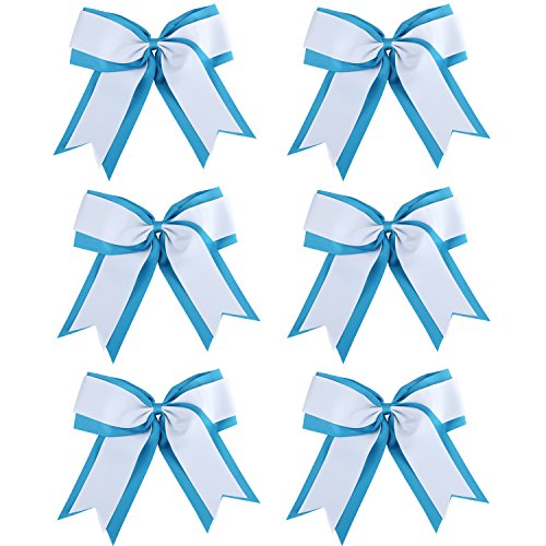 8 Inch 2 Colors 2 Layers 6 Pcs Jumbo Cheerleader Bows Ponytail Holder Cheerleading Bows Hair Elastic Hair Tie for High School College Cheerleading (Light blue/White)