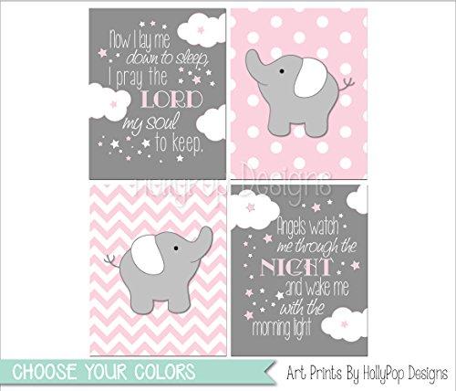 Baby Girl Wall Art (Baby elephant decor, Pink gray baby girl bedroom art, Pink gray elephant wall art, Now I Lay me Down to Sleep, Pink gray girls room wall art - SET OF 4 UNFRAMED ART PRINTS #1630)
