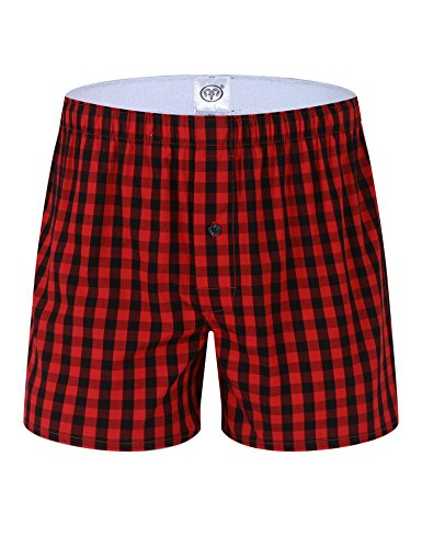 Hawiton 1 & 3 PCS Mens Cotton Woven Boxers Button Fly Plaid Sleep Pajama (Red Plaid Woven Boxer)