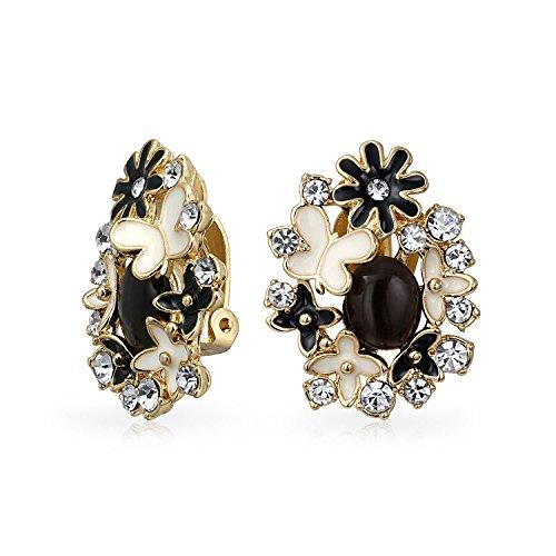 Enamel Garden - Gold Plated Brass Enamel Black Cats Eye Garden Clip On Earrings