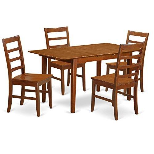 (East West Furniture PSPF5-SBR-W 5-Piece Dinette Table Set)