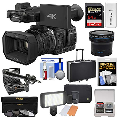 (Panasonic HC-X1000 4K Ultra HD Wi-Fi Video Camera Camcorder with Fisheye Lens + 64GB Card + Case + LED Light Set + Microphone Set + Accessory Kit)