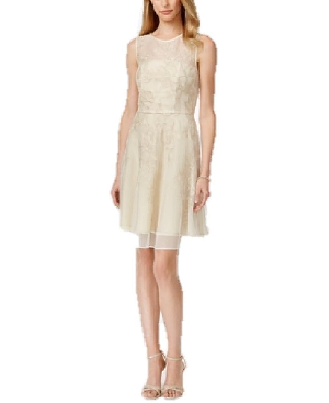 Tahari Asl Metallic Floral Illusion Flare Dress in Champagne Gold