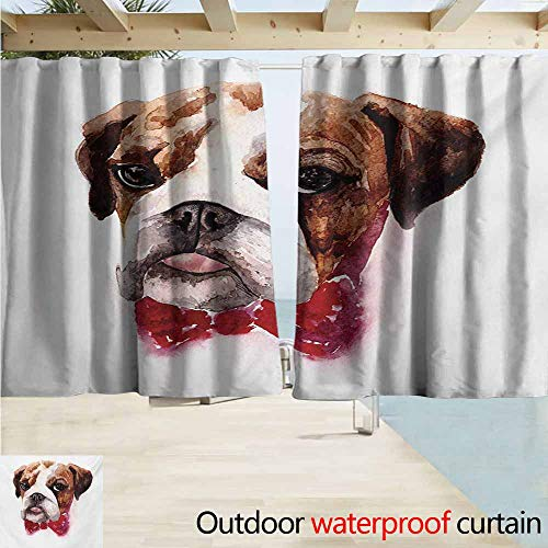 AndyTours Rod Pocket Blackout Curtain Panels,English Bulldog Watercolor Dog Portrait with a Bow Tie Design Brush Stroke Effect,Outdoor Privacy Porch Curtains,W63x45L Inches,Brown Ruby ()