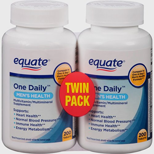 Equate One Daily Mens Health Multivitamin Multimineral 200 count (pack of 2)